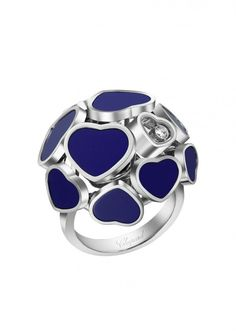 Chopard Ring Happy Hearts Ring rose gold and diamond, reconstructed Lapis Lazuli Heart Jewelry, High Jewelry, Luxury Jewelry, Diamond Jewelry, Gold Jewelry, Heart Ring, Jewellery, Diamonds And Gold, Chopard