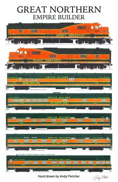 The Great Northern Empire Builder train. Hand drawings by Andy Fletcher