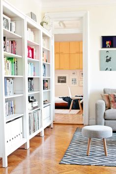 Creating a Serene Home in Brooklyn - Living Area with Book Storage
