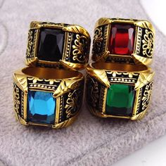 Vintage Antique Gold/Silver Plated Crystal Ring For Men Stainless Steel Big Square Stone Finger Ring Male Men Jewelry 2016 [Affiliate]