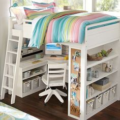 Nice Loft Bed Desk Combo Girls Room Bed With Desk