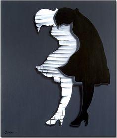 Een uiterst modern geschilderd kunstwerk in de kleuren zwart en wit
