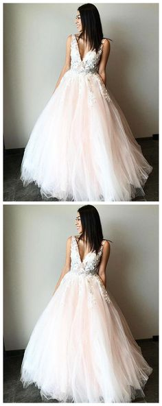 Champagne v neck tulle long prom dress, lace evening dress P0954 #promdress #promdresses #hiprom #prom #GraduationDress #2018 #PartyDress #champagne