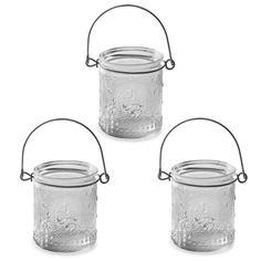 'Louis' Fleur-de-Lys Glass Tealight Holder Votive Trio Set #home #décor #lantern