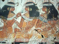 Ancient Egyptian Tomb Art detail, a feast for Nebamun, showing female guests at the feast, painting from the tomb-chapel of Nebamun, accountant in the Temple of Amun (Karnak), circa 1350 BC, Ancient Egypt, panel in the British Museum, London WC1.