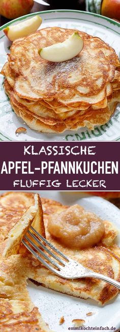 Apfelpfannkuchen klassisch und fluffig - emmikochteinfach Apple pancakes classic and fluffy The simple and quick recipe. My fluffy, thick pancake batter is criss-crossed with crunchy pieces of apple. Quick Easy Desserts, Quick Recipes, Quick Easy Meals, Toast Pizza, Cooked Apples, Crepe Recipes, Apple Desserts, Few Ingredients, Food Blogs