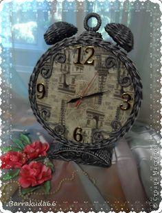 Productos de artesanía Decoupage Punto Reloj Vintage Papel de periódico Alarma Tubos de papel foto 1