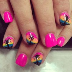 If you're a beginner, then this simple Nail Arts Ideas is for you. Here comes one of the easiest Nail Art Design ideas for beginners. Simple Nail Art yet stunningly beautiful that will get attention from others. Cruise Nails, Vacation Nails, Fingernail Designs, Toe Nail Designs, Nails Design, Uñas Color Neon, Beach Themed Nails, Jolie Nail Art, Palm Tree Nails