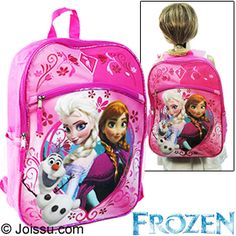 DISNEY'S FROZEN BACKPACKS. With an exterior zippered pocket, 2 net pockets on the sides, a carrying handle on the top and adjustable back straps, this is the prettiest and most practical backpack ever. Perfect to take to a playdate, on vacation or use as a book bag.  Size 16 X 12 Inches