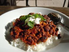 Vegetarian Black Bean & Soy Chorizo Chili - used poblano with bell pepper.  Eliminated chocolate at end.