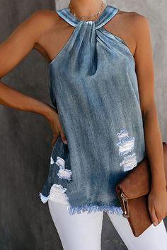 Fashion Hanging Neck Denim Hole Sleeveless Vests Denim SKU Brand Name Mattecoco Collar Denim Fashion, Fashion Outfits, Style Fashion, Fashion Clothes, Dots Fashion, Sleeveless Outfit, Mode Jeans, Denim Crafts, Tie Dyed