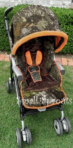 Camo Baby Mossy Oak Breakup Orange Minky Brown Add Buck Monogram Stroller Cover