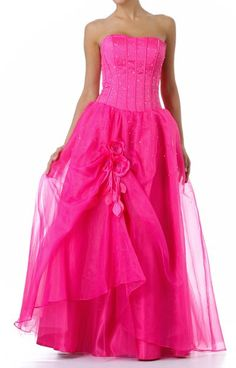 Fuchsia Wedding Gown Organza Skirt Poofy Corset Bodice Lace Up Back $267.99