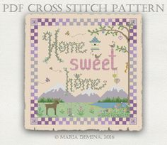 Home Sweet Home PDF cross stitch pattern / instant download by LittleRoomInTheAttic on Etsy