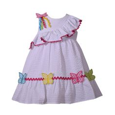 Toddler Girl Bonnie Jean Butterfly Seersucker Dress, Size: 2T, White