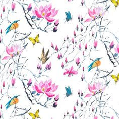 madame butterfly - peony fabric | Designers Guild