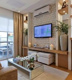 Wohnzimmer Tv Wand Design Living room TV wall design by yourself # Condo Living, Living Room Tv, Small Living Rooms, Home And Living, Living Room Designs, Tv Room Small, Tv Wall Ideas Living Room, Living Area, Small Tv Unit