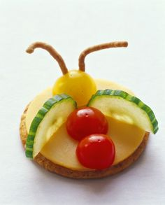 Bug snacks- Cracker and cheese and veggie flying bug-shaped snack