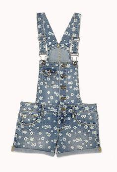 Floral Print Denim Shortalls (Kids) | FOREVER21 girls - 2078432247