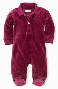 Ralph Lauren Velour One-Piece (Baby Boys) available at #Nordstrom