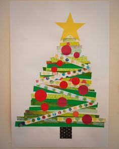 make Christmas trees using strips of paper - craft for the kids to do