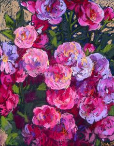 Pink Roses Blooming Bush. Original pastel painting (artwork). by culufin on Etsy