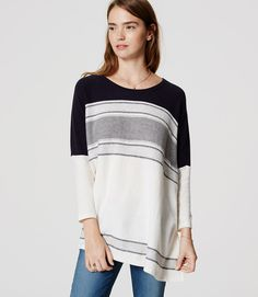 With its bold stripes and flowy poncho styling, this sweater (the kind you'll always want to slip into) exudes getaway gorgeous. Hi-lo hem. Poncho Sweater, Sweater Outfits, Fall Outfits, Fall Fashion 2016, Autumn Winter Fashion, Weekend Outfit, Casual Weekend, Petite Sweaters, Cool Style