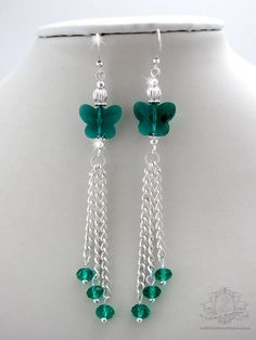Handmade green crystal butterfly silver tassel earrings MATERIAL: Emerald Green Swarovski butterfly shaped crystal beads, silver plated
