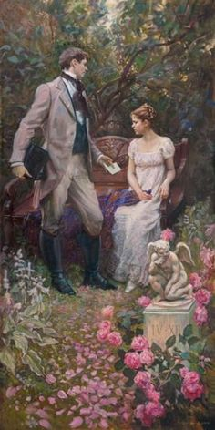 """""""You wrote to me."""" A scene from Pushkin's novel 'Yevgeny Onegin' -- by Mikhail Shankov Russian) Romantic Paintings, Classic Paintings, Beautiful Paintings, Victorian Paintings, Victorian Art, Romance Arte, Images Victoriennes, Art Amour, Tableaux Vivants"""