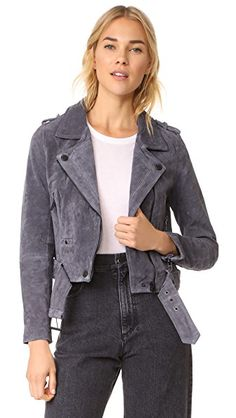 Brushed suede lends a luxurious feel to this classic Blank Denim moto jacket. Exposed zips secure the placket, pockets, and cuffs, and snaps secure the epaulets and notched lapels.