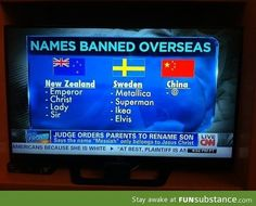 Funny banned names in certain countries