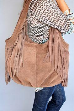 Jj Winters Cafe Suede Fringe Hobo Bag Great Size And Shape But