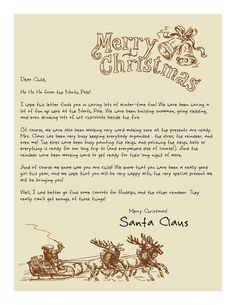 Has your little one heard from Santa yet? Printable Letters from Santa… Christmas Eve Box, Winter Christmas, Christmas Gifts, Christmas Decorations, Christmas Letters, Santa Christmas, Xmas, Christmas Ideas, Christmas Things