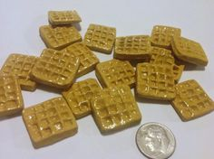 12 Piece Order Mini Waffles Handmade Dollhouse Food - Polymer Clay Food - Doll House Breakfast - Fake Food For Dolls and Dollhouses