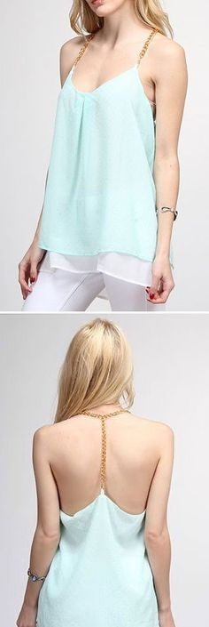 Mint T-Back Chiffon Tank Top ♥