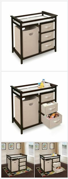 Badger Basket Modern Changing Table with 3 Baskets and Hamper, Espresso   CBS Marketplace http://cbsmarketplace.net/product/badger-basket-modern-changing-table-with-3-baskets-and-hamper-espresso-2/