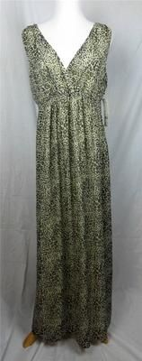 NY Collection Maxi Dress Leopard Print Metallic V Neck New Large Retail $78 | eBay