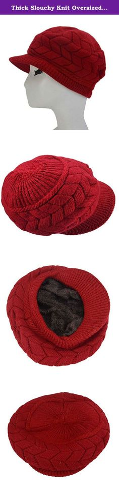 Thick Slouchy Knit Oversized Visor Cap Hat. This soft chenille fleece-lined winter knit cap hat is perfectly designed for the chilly cold weather winter season. Extra Deep for a jaunty slouchy look or to make a little extra room for your hair, whether loose, in a bun or a pony tail, and may be deep enough to cover your ears, so you can replace your earmuffs, or choose to wear them together for extra warmth. The visor brim protects your face from falling snow and skin-chapping sun and…