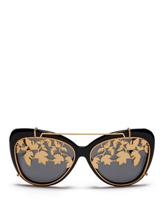 MATTHEW WILLIAMSON x Linda Farrow leaf cutwork clip-on acetate sunglasses