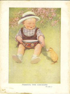 Vintage 1927 Children's Print Lawson Wood Baby Toddler Young Child In Garden Feeding Baby Chicken From Spoon Book Plate Illustration by printsandpastimes on Etsy