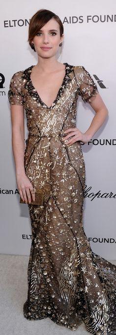 Emma Roberts: Dress – Oscar de la Renta    Shoes – Giuseppe Zanotti    Purse – Swarovski    Earrings – H Stern    Ring – Le Vian