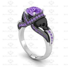Show details for 'Aphrodite' 1.85ct Amethyst Skull Sterling Silver Engagement Ring.  I would accept any of these.