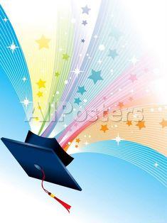 オールポスターズの「Graduation Cap with Tassels and Sparkling Stars」写真プリント
