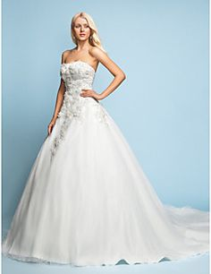A-line/Princess Strapless Court Train Lace Wedding Dress Get awesome discounts up to 70% Off at Light in the Box with coupon and Promo Codes.
