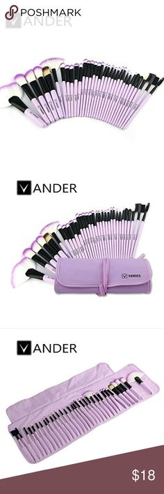 "NWT Vander 32 piece Makeup Brush Set w/ Purple Bag Package includes:   100% Brand New  Brush Length : Approximately 7.9""  Bag Size :24 * 15.5 * 5cm (folded)  Product Weight::232g  Handle Material:Wood  Brush Material:Fiber batt   14 x The Specifications Eyeshadow Brush  6 x The Specifications Blush / Powder Brush  3 x Concealer BrushAngle  2 x Eye Liner Brush  1 x Eyebrow Brush  1 x Sponge Eye Shadow Brush  1 x Lip Liner Brush  1 x Eyebrow Comb brush  1 x Eyelash Comb brush  1 x Lip Brush  1…"