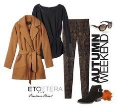 CASHEW camel jacket, DARJEELING black tunic, HAVEN camel and black print pants by biseletcetera on Polyvore featuring Aquatalia by Marvin K., Gucci and Etcetera