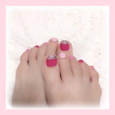 ♡ * foot nail ୨୧*° * やってみたかったmiumiu風ネイル💗 * #ネイル #セルフネイル #セルフネイル部  #ジェルネイル #セルフジェルネイル #miumiuネイル #ミュウミュウネイル