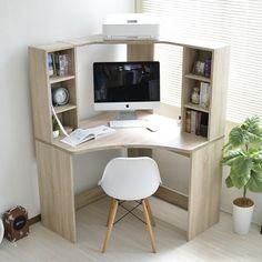 Home Office Bedroom, Home Office Space, Home Office Decor, White Corner Desk, Small Corner Desk, Tiny House Furniture, Home Decor Furniture, Computer Desk Design, Study Table Designs
