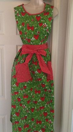 Vintage Apron Long Wrap Around Strawberries Green & Red Polka Dots Design House