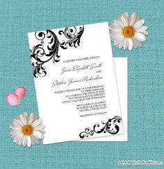 Elegant Wedding Invitation with Swirls Borders